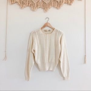 Liz Claiborne Cream Knit Sweater with Buttons